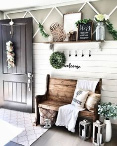 111 gorgeous diy farmhouse furniture and decor ideas for a rustic country home d. 111 gorgeous diy farmhouse furniture and decor ideas for a rustic country home diy & crafts 26 Small Entryway Bench, Entryway Wall Decor, Farmhouse Wall Decor, Farmhouse Furniture, Country Decor, Farmhouse Design, Farmhouse Style, Farmhouse Ideas, Rustic Farmhouse