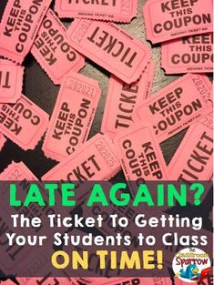 TICKET to Getting Your Students to Class on Time Getting your students to class on time! - The Classroom SparrowGetting your students to class on time! - The Classroom Sparrow Attendance Incentives, Classroom Incentives, Student Attendance, Classroom Management Strategies, Classroom Behavior, Attendance Ideas, Classroom Setup, Behavior Management, Attendance Board