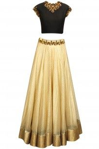 Black antique floral embroidered crop top with gold line woven lehenga
