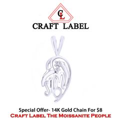 """14K Gold Round Brilliant Cut White Diamonds """"Mom"""" Double Heart Pendant Without Chain """"Mother\'s Day Gift"""". Starting at $1"""