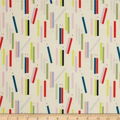 My World of Smiles My Pencils Tea/Bright from @fabricdotcom  Designed by De Leon Design Group for Alexander Henry, this fabric is perfect for quilting, apparel and home décor accents. Colors include cream, sage, lime, black, red, teal, and red.