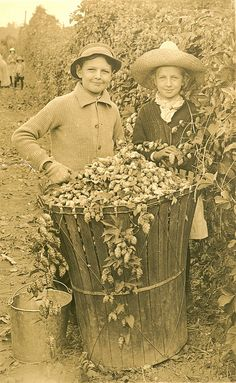 Two children with hops basket in Oregon