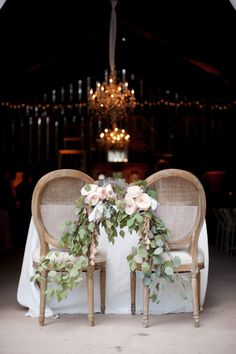 love the florals on these sweetheart chairs   Photography By / kimfoxphotographyblog.com, Planning By / delicate-details.com, Floral Design By / toastsantabarbara.com