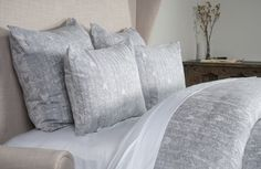 This bedding takes the master bedroom to the next level with an artistic pattern, soothing blue and ivory and luxurious feel. Perfect in every way.