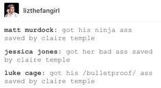 Claire Temple, Luke Cage, Power Man, Jessica Jones, jewel, Matt Murdock, daredevil, marvel, mcu, avengers, the defenders
