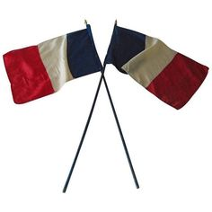 French RF Tri-Color WWII Victory Parade Flags - a Pair ($365) ❤ liked on Polyvore featuring home, home decor, flags, french signs, french home decor, monogram signs, flag sign and paris france home decor