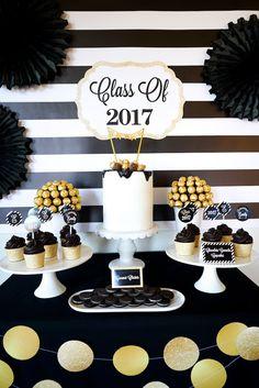 """Be Bold"" Black & Gold Graduation Party on Kara's Party Ideas | KarasPartyIdeas.com (10)"