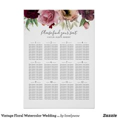 Vintage Floral Watercolor Wedding Seating Chart Blush dusty rose and burgundy red watercolor floral wedding seating chart ❤ Affiliate ad link. Customize these invitations / cards / products for your weddings. Dusty Rose Wedding, Floral Wedding, Modern Wedding Invitations, Wedding Stationary, Watercolor Wedding, Floral Watercolor, Wedding Color Schemes, Wedding Colors, Seating Plan Wedding