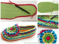 Crochet slippers I like to use a lot of colors! Little by little, I'm learning to create combinations that seem to be very successful in my own eyes.