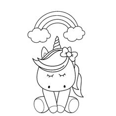 Cute Unicorn Eating Donuts Coloring Pages Free instant ...