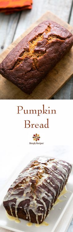 Classic pumpkin bread with pumpkin spice, molasses, ginger, with or without an orange citrus glaze on SimplyRecipes.com #dessert #quickbread #halloween