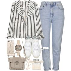 Outfit with blue jeans and a stripped top by ferned on Polyvore featuring Topshop, Yves Saint Laurent, 3.1 Phillip Lim, Olivia Burton, Michael Kors, Casetify and Chloé
