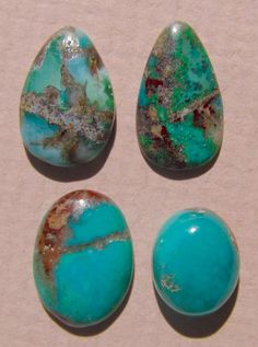 4 Luminous Gemsilica Chrysocolla Cabochons by dmargocr on Etsy