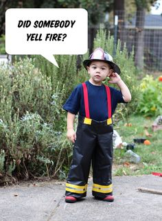 DIY firefighter and dalmatian costumes