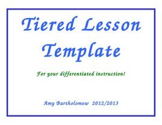 common core tiered lesson plan