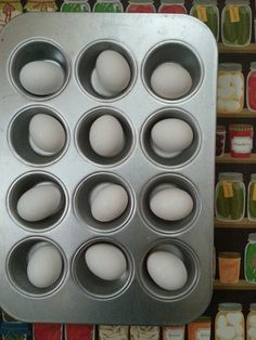 Baked Hard-Boiled Eggs - place in 325 oven for 30 minutes, let cook and effortlessly peel.