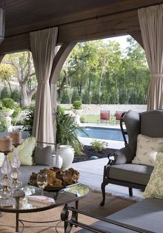 Poolside Patio, love coziness of outdoor drapes and privacy of stone wall Outdoor Living Space, Decor, Home, Outdoor Drapes, Outdoor Decor, Outdoor Curtains, Terrace Furniture, Living Spaces, Outdoor Design