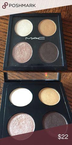 MAC Devilishly Dark Eyeshadow Quad 5.6g all together, 4 Eyeshadows; Manila paper, goldmine, honey lust, and devilishly dark MAC Cosmetics Makeup Eyeshadow