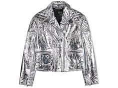 Looking for a fierce new leatber biker jacket to turn heads in this spring? Look no further than this silver metallic beauty...
