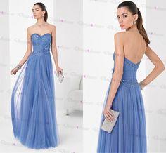 Marvelous Tulle Satin Sweetheart Neckline Floor-length A-line Prom Dresses With Beadings on Luulla
