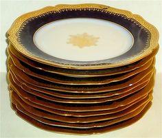 RARE Set of 11 Antique Bernardaud Limoges Cobalt Blue Gold Porcelain Plates | eBay