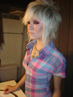 Love the messy short rocker/emo look too bad my face is round :(  Blonde Scene Girl Hairstyles - Short & Long Styles