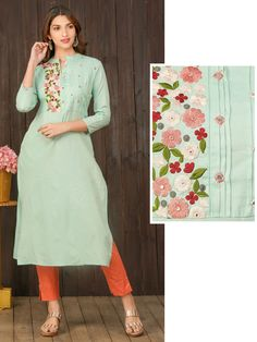 Churidar Neck Designs, New Kurti Designs, Kurta Designs Women, Kurti Designs Party Wear, Blouse Designs, Embroidery Suits Design, Embroidery Ideas, Hand Embroidery, Machine Embroidery