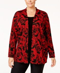 Jm Collection Plus Size Printed Layered-Look Top, Only at Macy's - Red 0X