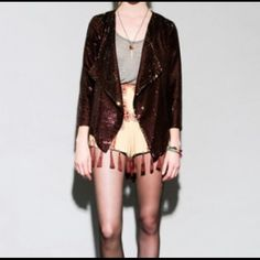 Draped Front Sequin Jacket Ark & Co draped open front sequin jacket. Brown and gold sequins with dark brown lining. Slightly worn and is in great condition. Size small and slim fit. Ark & Co Jackets & Coats