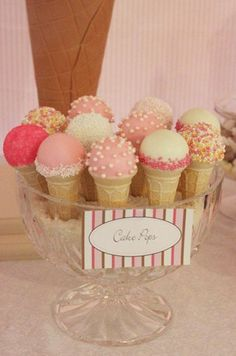 Love for a bridal or baby shower. Cake pops and mini ice cream cones