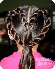 Another version of heart hair. Might work well for shorter hair. Girls Hairdos, Flower Girl Hairstyles, Little Girl Hairstyles, Hairstyle Look, Pretty Hairstyles, Braided Hairstyles, Heart Braid, Toddler Hair, Hair Hacks
