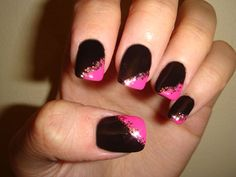 Black, pink, and gold glitter nails