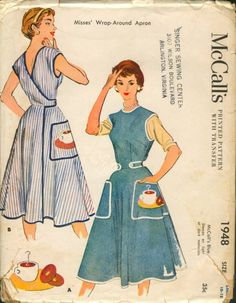 McCall's Misses' Wrap-Around Apron. With transfer for Coffee and Donuts Applique. Pattern is an adult sized version of McCall's which was released a year prior as a tie-in to the NBC children's television show, Ding Dong School. Vintage Apron Pattern, Retro Apron, Vintage Dress Patterns, Aprons Vintage, Clothing Patterns, Vintage Dresses, Vintage Outfits, Vintage Fashion, Apron Patterns