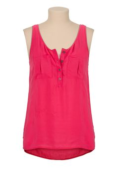High-low two pocket henley tank maurices