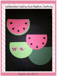 watermelon adding and writing activity