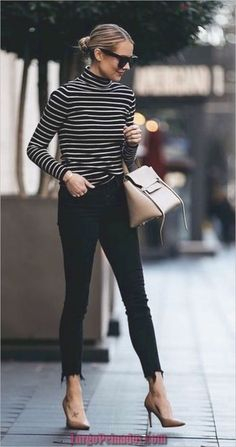 Fashion Jackson Nordstrom Black White Striped Turtleneck Black Skinny Jeans Nude Pumps Celine Mini Belt Bag - The most beautiful dresses and seasonal outfits Summer Work Outfits, Casual Work Outfits, Mode Outfits, Work Casual, Fashion Outfits, Jean Outfits, Stylish Outfits, Women's Casual, Casual Office