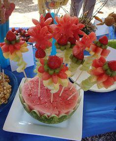 how to build a cascading fruit centerpiece