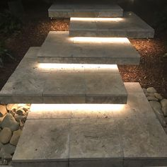 Outdoor Steps, Patio Steps, Outdoor Landscaping, Exterior Tiles, Exterior Stairs, Outdoor Stair Lighting, Landscape Stairs, Farmhouse Dining Room Table, Small House Interior Design