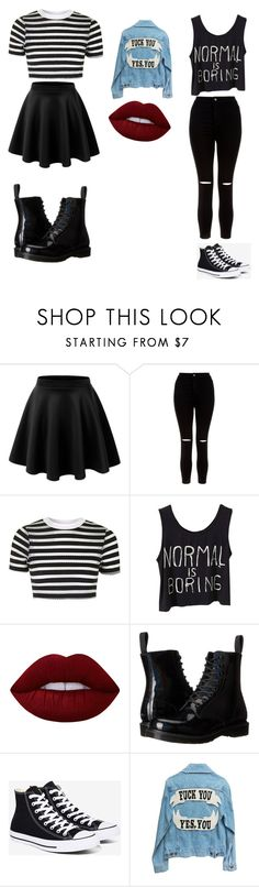 """grunge outfits"" by amelie112 on Polyvore featuring Mode, LE3NO, New Look, Topshop, Lime Crime, Dr. Martens, Converse, love, blackandwhite und grunge"