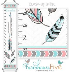 Arrow & Feathers Tribal Canvas Growth Chart in by Farmhousefive