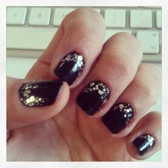 Black and chunky glitter nails