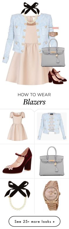 """Sweet as sugar"" by xoxomuty on Polyvore featuring Valentino, Kate Spade, Balmain, Hermès, Lulu Frost, Rolex, Christian Dior and polyvoreOOTD"