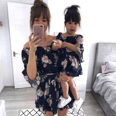 Mother daughter family matching outfits off shoulder floral dress summer chiffon girl women boho loose dresses sundress clothes size s color blue Mother Daughter Matching Outfits, Mother Daughter Fashion, Mommy And Me Outfits, Matching Family Outfits, Kids Outfits, Matching Clothes, Mother Son, Fall Outfits, Summer Holiday Dresses
