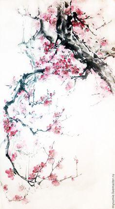 Купить Дыхание весны - комбинированный, японская живопись, китайская живопись, тушь, цветы, весна