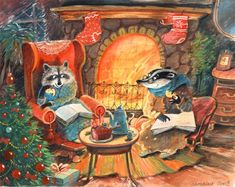 """(Artwork: Diana Lapshina) """"New Year's is a harmless annual institution, of no particular use to anybody save as a scapegoat for promiscuo. Winter Illustration, Christmas Illustration, Children's Book Illustration, Art Fantaisiste, Art Mignon, Poster Print, Fairytale Art, Whimsical Art, Christmas Art"""