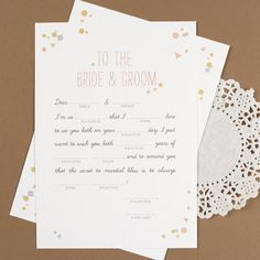 Wedding Mad Libs for the reception tables.
