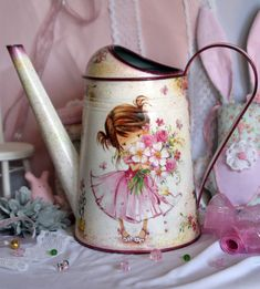 Watering can decoupage handmade