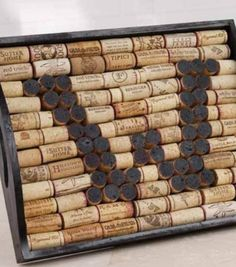 5. Cork Tray - 39 Cork #Crafts That Will Make You Wish You Drank More Wine ... → DIY #Snowman