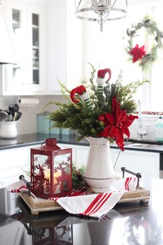 Here are the best DIY Christmas Centerpieces ideas perfect for your Christmas & holiday season home decor. From Christmas Vignettes to Table Centerpieces. Country Christmas Decorations, Christmas Tablescapes, Farmhouse Christmas Decor, Rustic Christmas, Christmas Decor In Kitchen, Christmas Centerpieces For Table, Decorating For Christmas, Christmas Vignette, Elf Christmas Decorations