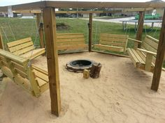Beach theme swings around a fire pit